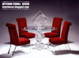 glass round table glass chairs red design 2016 glass furniture