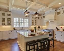 lantern pendant lighting. Elegant U-shaped Kitchen Photo In Raleigh With Shaker Cabinets, White Lantern Pendant Lighting T