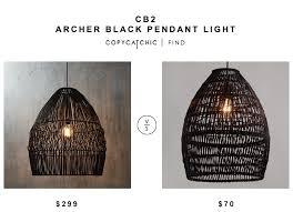 cb2 archer black pendant laight for 299 vs world market black woven bamboo pendant shade for