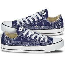 converse shoes blue. blue bandana pattern print converse chucks shoes x
