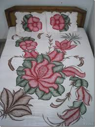 Fabric Painting Floral Bed Sheet Pattern Glass Painting Art
