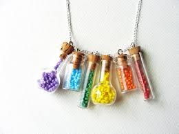 Little Rainbow Bottle Necklace. Tiny Glass Vials on Etsy