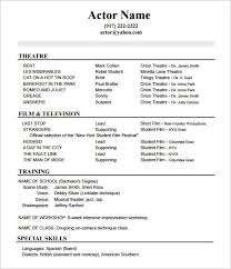 Acting Resume Outline Actor Acting Resume Template Acting Resume Job Resume