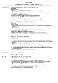 Clinical Laboratory Scientist Resume Clinical Laboratory Scientist Resume Samples Velvet Jobs 1