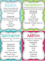 Math Operations Key Words Chart Multi Step Word Problems Math Skits And A Freebie Math