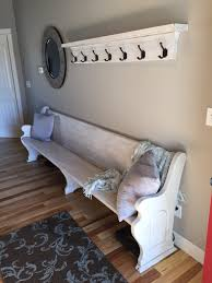 Front Hall Coat Rack Refinished church pew with custom coat rack to match Perfect for a 80