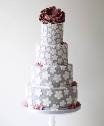 grey wedding cake with fl details