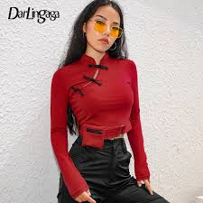 Darlingaga <b>Chinese style fashion</b> cotton female t shirt autumn winter ...