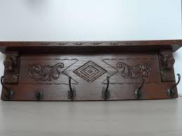 Antique Oak Coat Rack Simple Antique Oak Coat Rack With Wood Carvings With Six Double Bronze