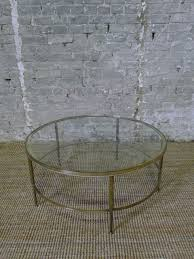 circular brass and glass coffee table france c 1950