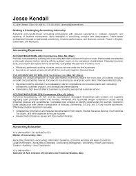 Finance Internship Resume Objective Accounting Internship Resume