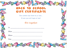 School Certificates Template Back To School Gift Certificate Template Stationary Style
