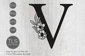 V Letter Design Floral Letter V Svg File Letter V Svg Flower Letter Svg