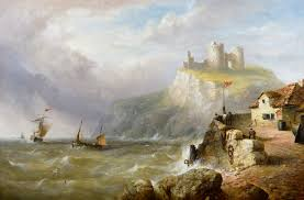 seascape oil painting of ships off criccieth castle north wales by henry king taylor 577807 ingantiques co uk