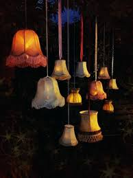 outdoor lamp shades led lit standard lampshades can be hung indoors or out doors amongst trees outdoor lamp shades