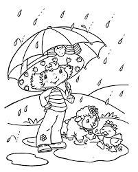Strawberry Shortcake Coloring Pages Rain Printable