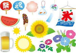 フリーイラスト 氷旗やうちわなど夏関連のセットでアハ体験 Gahag