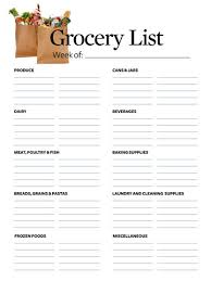 Groceries List Template Grocery List Makes Shopping Easier Better Homes Gardens