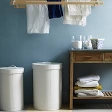 Laundry room office design blue wall Chic Blue Laundry Room Ideal Home Country Utility Room Pictures Ideal Home