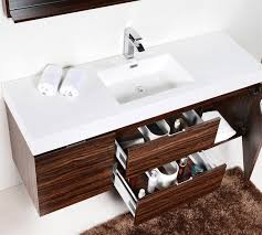 Modern single sink bathroom vanities Luxury Bliss 60u2033 Walnut Wall Mount Single Sink Modern Bathroom Vanity Vanities Bliss Wall Mount Vanities Kubebath Bliss 60