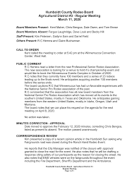 Humboldt County Rodeo Board Agricultural District #3 - Regular Meeting  March 11, 2020
