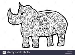 rhinoceros vector ilration zen tangle rhino coloring book