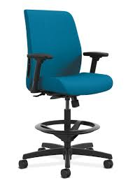 blue task chair office task chairs. HON Endorse Collection Task Stool Upholstered Back Appoint Seating Turquoise Adjustable Arms Front Side View HLTSU Blue Chair Office Chairs S