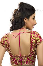 U Neck Saree Blouse Design Rani Pink Gold Festive Wear Blouse With Back Deep U