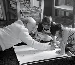 picasso drawing with paloma and claude at villa la galloise 1953