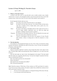 Lecture 12 Essay Writing 3 Narrative Essays