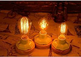 vintage loft re dimmable table lamp ceramic wood table light for bedroom abajur bedside lamp with edison bulb