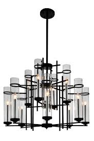 12 light up chandelier with black finish