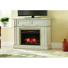 mantel console infrared electric fireplace in antique white finish