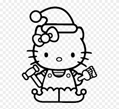 We have so many free online coloring pages for you to enjoy that girls or boys will love it. Hello Kitty Christmas Hat Coloring For Kids Christmas Elf Coloring Pages Free Transparent Png Clipart Images Download