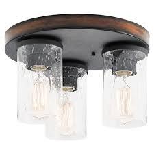 kichler 11 5 distressed black wood glass rustic ceiling flush mount light new