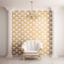 Small Picture Scallop Shell Pattern Wall Stencil Contemporary Wall Stencils