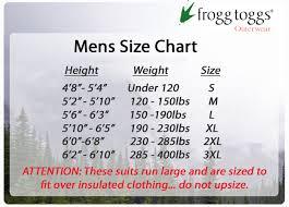 Frogg Togg Rain Gear Size Chart Frogg Toggs Karta Toadz Jacket