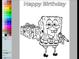 Small Picture Spongebob Birthday Coloring Pages For Kids Spongebob Birthday