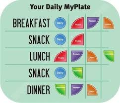 Breakfast Lunch And Dinner Chart Your Daily Myplate Breakfast Lunch Dinner Snack Portion