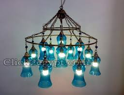 two tiers mouth blown ring turquoise glass ceiling light fixture