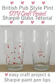 diy craft project sharpie marker pint glass tutorial custom stamped english style beer pint