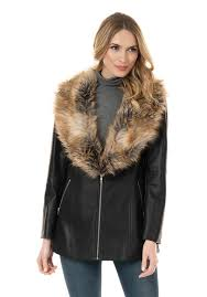 black faux leather zip coat with fox faux fur collar 1