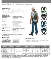 Miller Aircore Harness With Duraflex Webbing Qc Buckles Side D Rings Belt
