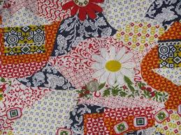 retro 60s-70s vintage cheater patchwork quilt print cotton fabric &  Adamdwight.com