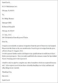 sample nurse resignation letterresignation letter for nurses