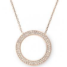 mode michael kors pave circle necklace rose gold tone