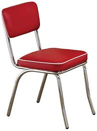 retro side chairs with black cushion chrome and red set of 2