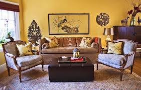 yellow living room decor wall