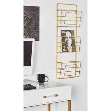 wall hanging magazine rack. Perfect Hanging Litton Lane Gold 3Tier Wall Mounted Magazine Rack In Hanging The Home Depot