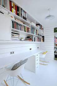 Built In Desk Designs Scandinavian Home Design Ideas With White Walls Bookshelves And A